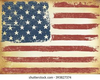 American Themed Flag Background. Grunge Aged. Raster version.Horizontal orientation.