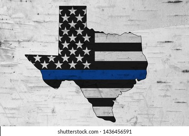 American thin blue line flag on map of Texas for your support of police officers