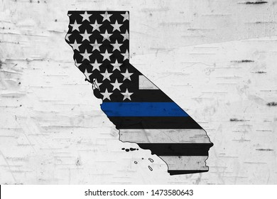 American thin blue line flag on map of California for your support of police officers