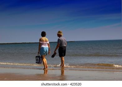 American tourists on a scottish beach