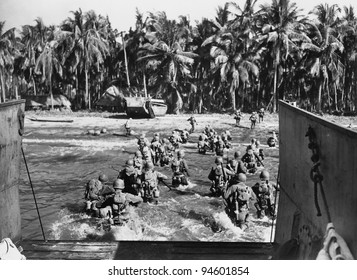 American troops storming the beaches during World War II