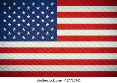 American or United States , US Flag. Fabric texture flag.