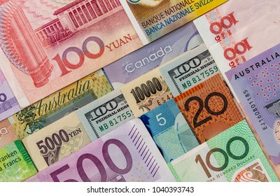 American  Us Canadian   Australian  Dollar, Euro, Japanese Yen, and Chinese Yuan banknote