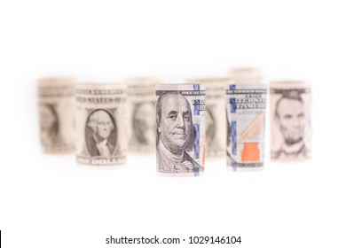 american us dollar currency money 100 paper note bill loose change stacked cents, quaters and dime