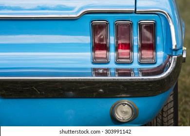 American vintage car, rear view