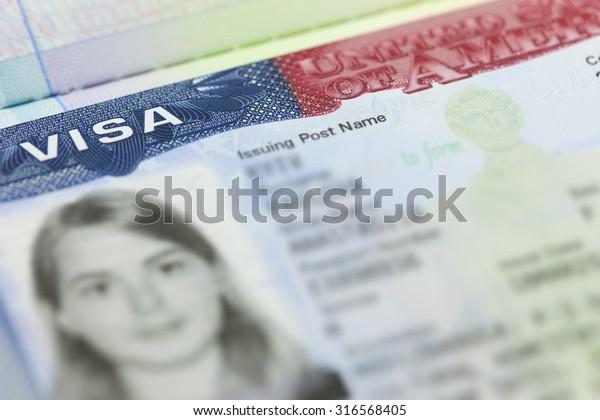 American Visa Passport Page Usa Background Stock Photo (Edit
