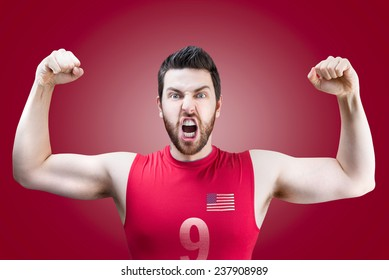 American volleyball player celebrates on red background
