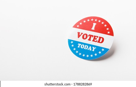 American vote sticker isolated on white background, elections in US 2020, panorama, copy space
