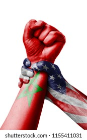 AMERICAN VS Marocco, Fist painted in colors of Marocco flag, fist flag, country of Marocco