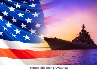 American warship. America's Navy. Ship on the background of the American flag. Naval forces of the United States. us Navy. Ship against the background of the sunset and the American flag.