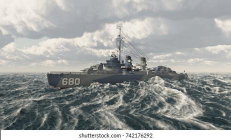 American warship of World War II Computer generated 3D illustration