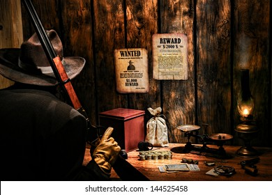 American West Legend armed security guard with rifle and cowboy hat guarding western railroad payroll and revenue office with gold coins and vintage money with strongbox and bag on paymaster old desk