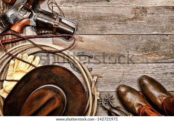 American West Legend Western Cowboy Ranching Stock Photo