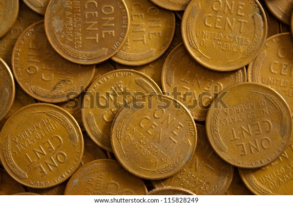 American Wheat Pennies Old One Cent Stock Photo (Edit Now