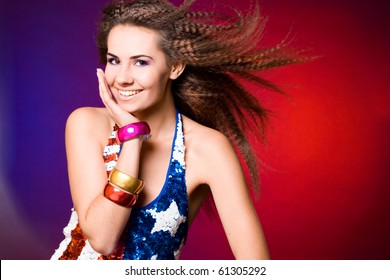 American woman in colored background
