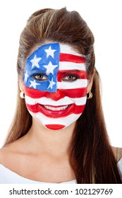 American woman with the USA flag painted on her face - isolated