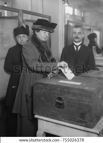 American woman votes, ca. 1920. The 1920 election was the first time all American female citizens over 21 were able to vote for a U.S. President.
