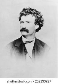 American writer Mark Twain, (aka Samuel Clemens), (1835-1910), c. 1864.