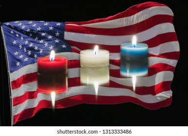 AmericanFlag behind red white and blue lighted candles composite photograph.