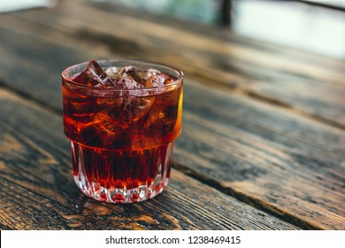 Americano cocktail with vermouth, bitter and soda