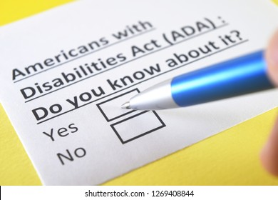 Americans with disabilities act(ADA): do you know about it? Yes or no