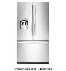 American-Style Refrigerator Isolated on White Background. Domestic Appliances. Front View of Stainless Steel Three Door Fridge Freezer. Electric Appliances. Smart Refrigerator. Kitchen Appliances
