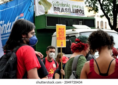 Americas, Brazil – September 7, 2021: Marchers gathered in downtown Rio de Janeiro with signs and banners to protest against Brazilian far-right president Jair Bolsonaro and tell him they want him out