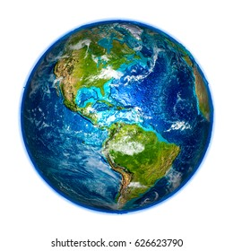 Americas on detailed model of planet Earth. 3D illustration isolated on white background. Elements of this image furnished by NASA.