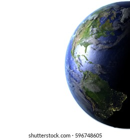 Americas on model of Earth. 3D illustration with realistic planet surface and visible city lights. Blank space for your copy on the left side. Elements of this image furnished by NASA.