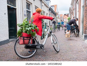 amersfoort, netherlands, 15 june 2019: woman with plants and flowers on bicycle in dutch town of amersfoort