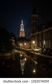 Amersfoort, Netherlands - 16 Februari2019: Traditional old street with buildings and canals in Amersfoort, Netherlands.