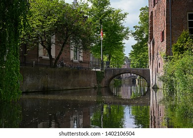 amersfoort, netherlands - 2019.05.09: a typical canal in the historic city of amersfoort