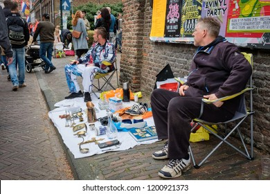 Amersfoort, the Netherlands - April 27, 2018 : Flee market in Amersfoort on King's day