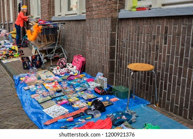 Amersfoort, the Netherlands - April 27, 2018 : Trying to sell your old items at the flee market on King's day
