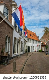 Amersfoort, the Netherlands - April 27, 2018 : An empty street in the old city of Amersfoort on King's day