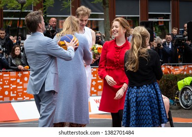 Amersfoort, The Netherlands. April 27th 2019: Kings day at the Netherlands with in this picture Princesses Amalia, Alexia, Ariane and prince Pieter Christiaan