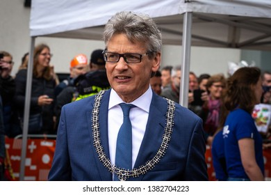 Amersfoort, Netherlands. April 27th 2019: Portrait of the Mayor of Amersfoort, Lucas Bolsius at Kings day