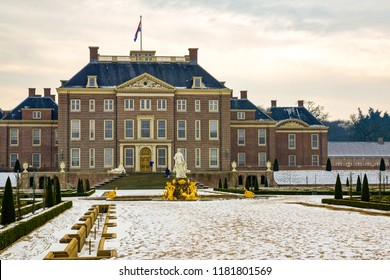 Amersfoort, The Netherlands - February 12, 2012: Het Loo palace and the backyard with snow in a cold winter day