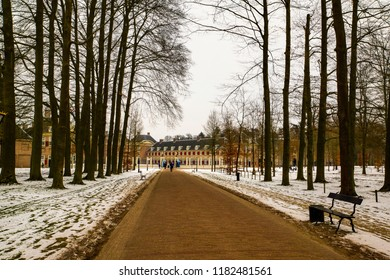 Amersfoort, The Netherlands - February 12, 2012: Footpath along trees leading to the palace Het Loo on a cold winter day with snow