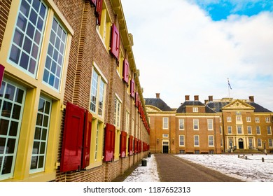 Amersfoort, The Netherlands - February 12, 2012: Wall with windows of the Het Loo palace on a cold winter day with snow