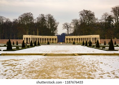 Amersfoort, The Netherlands - February 12, 2012:  Backyard of the Het Loo palace on a cold winter day with snow