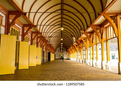 Amersfoort, The Netherlands - February 12, 2012: Row wooden stables in a hall of the Het Loo palace