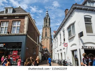 AMERSFOORT, NETHERLANDS; JULY 2018 Onze Lieve Vrouwetoren the attraction in Amersfoort with many tourist, Netherlands