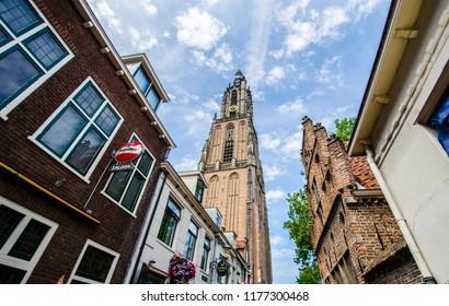 AMERSFOORT, NETHERLANDS ; JULY 2018 Onze Lieve Vrouwetoren signature building in Amersfoort, Netherlands.
