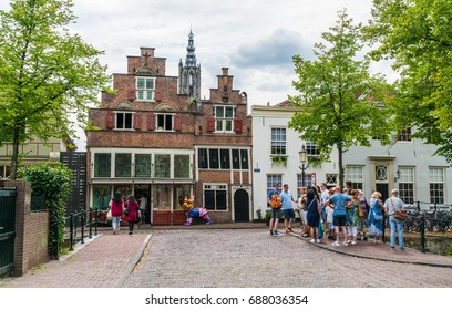 Amersfoort, the Netherlands July 22 2017: Tourist are guided through the old city of Amersfoort