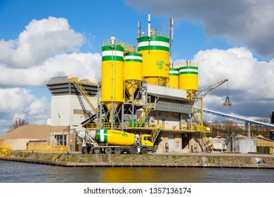 Amersfoort, The Netherlands - March 17, 2019: Cement factory in the industrial area the Isselt, Amersfoort, The Netherlands