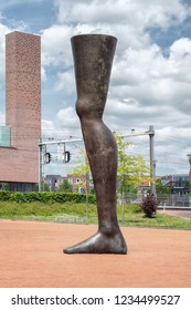 Amersfoort, Netherlands, May 17, 2015: The six meter high modern artwork Noch Einmal on the station square in the city of Amersfoort in The Netherlands