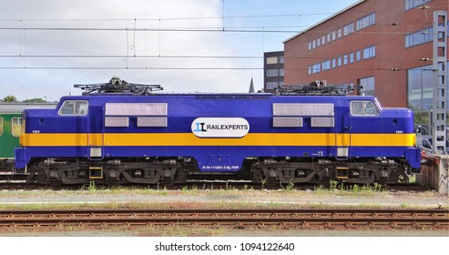 Amersfoort / Netherlands - May 17 2018:A side view of an old blue electric locomotive of the railway company RailExperts. (number 1251) The loc is an old NS 1200.