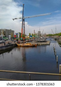 Amersfoort, Utrecht / the Netherlands - 04 23 2019: Preparations for the visit of the king and royal family in Amersfoort on april 27 2019 for Kings day.  A pontoon is being built on the river  Eem.