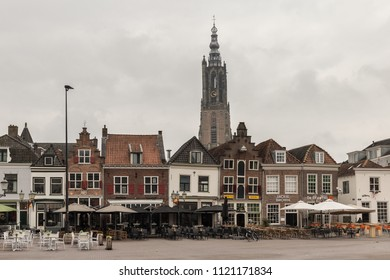 Amersfoort, Utrecht / Netherlands - april 29th 2018: Hof is normally the busiest square in Amersfoort where everyone is having a drink but on this cloudy sunday morning it was really quiet